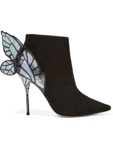 Hot Sale- 2020 Ladies sheep skin suede Pointed shoes high heel solid butterfly ornaments Sophia Webster boots SHOES black silver 34-42