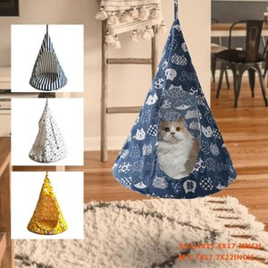 Pet Cat Tent Hammock Cat Removable Hanging House Bed Cone Shape Breathable Linen Sponge Cage Cover Creative Pet Supplies#15