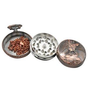 Orologio da tasca Forma smerigliatrice 40 millimetri di metallo Aquila Tabacco Grinder 3 strati Tabacco Crusher Grinders per Fumatori CCA12529