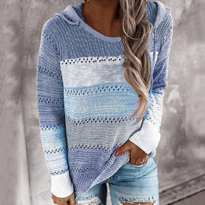 Womens Sweaters Hooded Lightweight Knit Sweater Long Sleeve Stripe Pullover Sweatshirt Women Fall Clothes Mujer Suéteres 2020