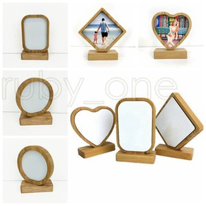 Thermal Transfer Bamboo Photo Frames 4 styles Bamboo Crafts Sublimation Blank Picture Rahmen For Christmas Gifts Desktop Decoration RRA3501