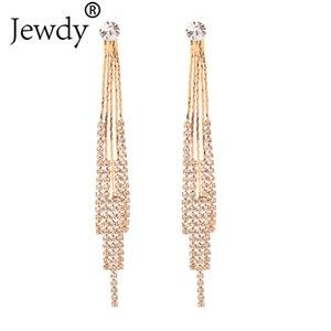 Dangle & Chandelier Wedding Rhinestone Earrings Bride Jewelry Fashion Women Gold Silver Color Long Tassel Crystal Statement Earring Gift