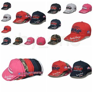 New Donald Trump 2020 Baseball Caps US Flag Presidential Election Hat Keep America Great Embroidery Sport Party Hats Supplies RRA3601