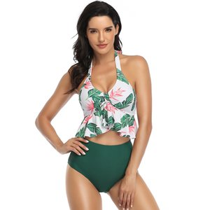 2020 New Ruffle Split Swimsuit Sexy Bikini Set Women's Halter Bikini Deep V Neck Top Floral Bottom Bathing Suit Two Piece Sexy Swimsuit