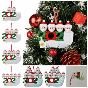 2020 Quarantine Christmas Birthdays Party Decoration Santa Claus With Mask Personalized Family Distancing Hanging Ornament Decor DD569