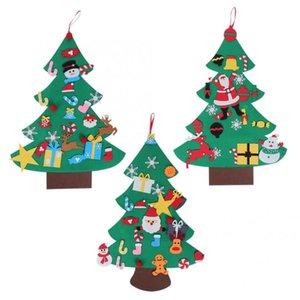 Large DIY Felt Christmas Tree Handcraft Ornaments New Year Door Wall Hanging Decoration Glow Light