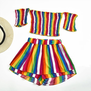 Sexy Women Rain Bow women sets clothes office Striped Print summer suit for women Sleeveless Shorts Two Piece Outfit P30
