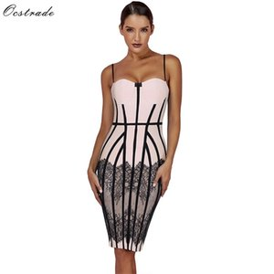Ocstrade Summer Bandage Dresses 2019 New Spaghetti Strap Black Lace Bodycon Dress Club Evening Party Bandage Dresses for Women 0924