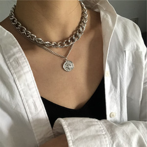 KMVEXO INS Punk Hiphop Cuban Thick Chain Choker Necklace Sets for Women Vintage Carved Coin Portrait Pendant Necklace Jewelry