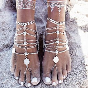Cgjxs 2018 New Fashion Summer Sexy Silver Tassel Anklet For Women Coin Pendant Chain Ankle Bracelet Foot Jewelry Barefoot Sanda Foot Decorat