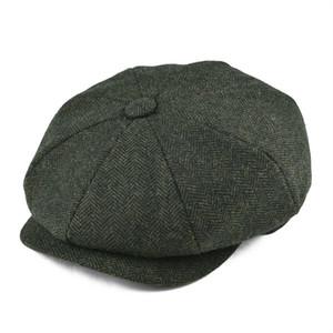 BOTVELA Wool Tweed Newsboy Cap Herringbone Men Women Classic Retro Hat with Soft Lining Driver Cap Black Brown Green 005 T200911