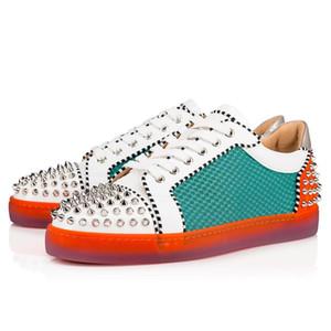 İtalya Marka Tırnaklı Kırmızı Sole Ayakkabı Ac Seavaste 2 Düz Kırmızı Alt konumundadır Dikenler Çivili Sokak Stili Düz El yapımı Sneakers Eğitmenler Wholesal