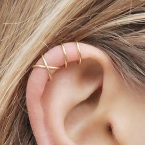 Ear cuff No Piercing Earcuff doppio ear cuff e Criss Cross Cartilagine semplice cartilagine orecchino ps1869