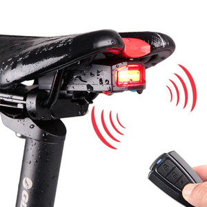4 In 1 Anti-theft Bike Security Alarm Wireless Remote Control Alerter Taillights Lock Waterproof Bicycle Lamp