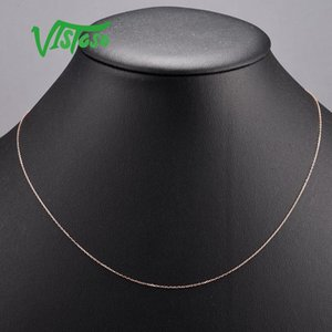Vistoso Altın Kolye için Kadınlar hakiki 14K 585 Rose Gold Kolye Zincir 42cm Güzel Takı MX200810