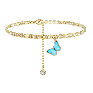 Butterfly Charm Anklet Chain Silver Gold Diamond Beach Cadena Anklet Bracelet Women Fashion Jewelry Will y Sandy Drop Ship
