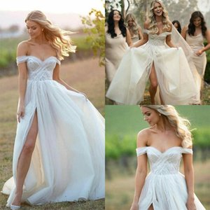 2020 Chic Country Wedding Dresses Side Split Off the Shoulder Ruched Bohemian Bridal Wedding Gowns Custom Made