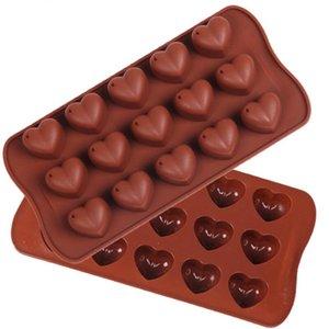 15 Delikler Kalp Shape Çikolata Kalıp DIY Silikon Kek Dekorasyon Kalıp Jelly Buz Pişirme Kalıp Aşk Hediye Çikolata Kalıp DHB1709