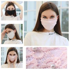 new Summer pearl lace mask Protective Mask Reusable Adjustable dust mask breathable Designer masks 4 color T2I51484