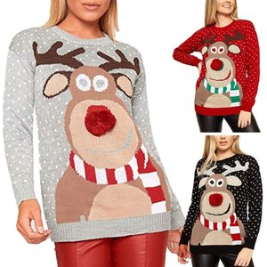 Women Winter Christmas Long Sleeve Sweater Cute Reindeer Print 3D Nose Pom Pom Pullover Tops O-Neck Loose Holiday Jumper