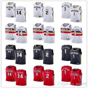 Mens femmes pour femmesLa Nouvelle OrléansPélicans14 BrandonINGRAM 2 LONZOBall 1 ZionWilliamson Custom Basketball Maillots