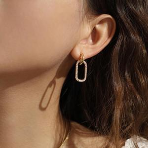 Yhpup Korean übersichtliches Design baumeln Ohrringe Geometric Zirkonia Goldbling Luxus Ohrringe Charm S925 Beitrag Brincos Weibliche Partei