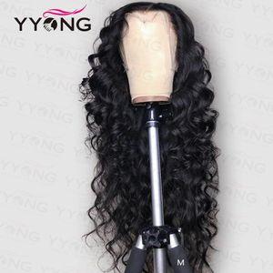 """YYong 13x6 T 부 느슨한 깊은 투명 레이스 프런트가 인간의 머리 가발 레미 말레이시아의 인간의 머리가 발 6 """"깊은 부분 HD 레이스가 발 120 %"""