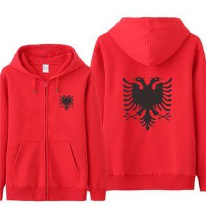 Omnitee New Outono Hoodies albanesa suéter Homens / Mulheres Casual Jacket O-Neck velo Zipper Albânia com capuz