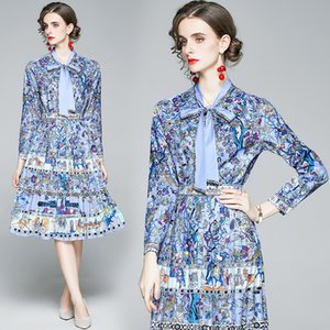 Luxury Series 2 Pcs Set Elegant Blue Floral Print Midi Pleated Skirt with Long Sleeve Office Shirt Holiday Unique Women Look 3918