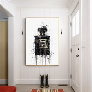 Modern Decoration Black Bottle Abstract Art Painting Wall Art Posters Prints for Living Room Bedroom Cuadros Pictures