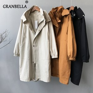 2020 Autumn Winter Korean Trench Coat With Zipper Casual Loose Women's Hoodie Windbreaker Solid Color Women's Coats T200901