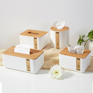 Wooden Plastic Tissue Box Solid Wood Napkin Holder Case Stylish Bamboo Covered Towel Boxes Simple Fashion Household Carton