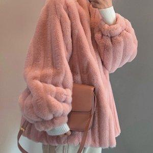 Nuovo Inverno donne coreane Faux Rabbit Fur Coat lusso falso soprabito femminile della peluche pelliccia di visone supporto all-partita Cappotti