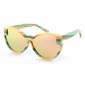Dropshipping OEM Retro Polarized One Lens Butterfly Sunglasses Women New Models Shield Colorful Bamboo Sun Glasses