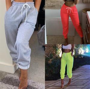 Street Style Женщины Бегуны Мода Solid Color Drawstring эластичный пояс Сыпучие Sweatpants Высокая талия Женские брюки