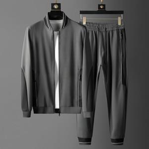 New Sport Mens Sets (sweatshirts+pants) Luxury Baseball Collar Zipper Male Suits Plus Size 5xl Slim Fit Casual Man Sets