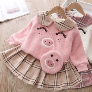 Baby girl autumn and winter warm cartoon piggy knitted wool sweater plus velvet padded suit girls plaid skirt plush clothes 3pcs 0926