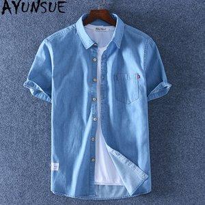 AYUNSUE Männer Denim-Hemd koreanische Kleidung aus 100% Baumwoll-Shirt Sommer plus Größen-beiläufige T-Shirts für Männer Mode Chemise Homme KJ4664
