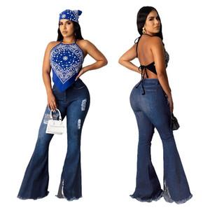 Полная длина Женщины Vintage Flare джинсы Мода Тощий Промытые джинсовые брюки поцарапан джинсы Брюки для Femme