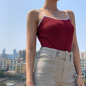 Weird Girls Homemade Cool Color Matching Thread Top Shirt with Narrow Straps 2020 Spring All-match Bottoming Temperament Vest Fashion