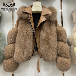 Mode Real Fox-Pelz-Mäntel mit echtem Schaffell-Leder Wholeskin Natur Fox-Pelz-Jacke Outwear Luxuxfrauen 2020 Winter New T200910