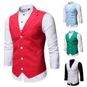 Suit Vest Men con Pocket 2020 marca vestito solido Mens Suit Gilet maschile Gilet Gilet Homme casual maniche commerciali Giacche