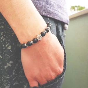 Antique Rudder Entwurf Naturstein-Korn-Armband-Charme-handgemachte Lava Armband für Herren Biker Schmuck Accessoires Homme