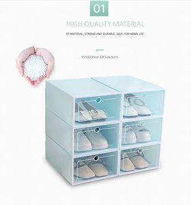 Stockage Organisation Artifact épaissie chaussures en plastique transparent Boîte de rangement Boîte tiroir flip fonctions multiples Boîte de rangement