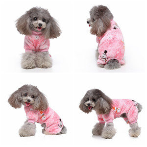 Noel Fleece Köpek Jumpsuit Sıcak Kıyafetler 4 bacaklı Karikatür Desen Köpek Kostüm Köpek Soğuk Hava Jumpsuit Giyim