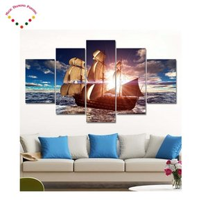 5d diySquare round Great Wheel Diamond Painting Sea view boat Landscape Diamond Embroidery Cross Stitch,Mosaic,stickers, 0922