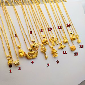 Vietnam Sand Gold Necklace Female Clavicle Chain Plated 24K Yellow Gold Jewelry Small Waist Pendant Lucky Beads No Color Fading