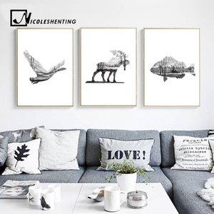 Nordic Art Deer Птица силуэт Плакаты искусства стены холст печать животных Аннотация Картина на стене Картины для гостиной Home Decor