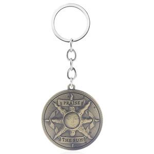 Desde el software Dark Souls 3 Llavero Knight solar Solaire de Astora Sun emblema de la aleación del metal escudo regalo de la joyería llavero del coche de los hombres de Cosplay