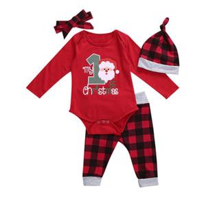 4 Pcs enfant en bas âge Costume Costume de Noël, O-cou manches longues Barboteuses Haut + Pantalon Rouge-Noir Plaid + Chapeau Hairband pour bébé fille